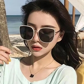ins墨鏡女潮2021新款防紫外線網紅偏光太陽鏡夏開車專用奶白大框 一米陽光