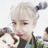 韓國時尚復古方形眼鏡框原宿學生個性簡約潮流百搭透明白色平光鏡【無趣工社】