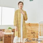 【Tiara Tiara】 田園風方格玫瑰小花前開襟洋裝(白/藍/黃)