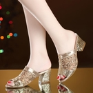 魚口鞋 軟皮2021新款網紗涼鞋女中跟魚嘴鞋粗跟大碼41中年媽媽鞋涼拖鞋 韓國時尚週 免運