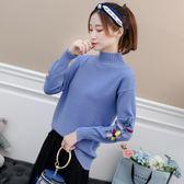 毛衣女加厚新款百搭秋冬季學生寬鬆繡花短款套頭半高領打底針織衫