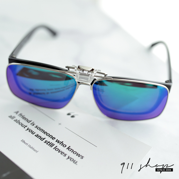 Impish.可掀式金屬框方形夾片抗UV400偏光太陽眼鏡【f5042】911 SHOP