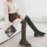 機車馬丁靴女秋季2018新款英倫風過膝靴長筒高筒靴繫帶瘦瘦靴子女