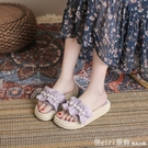 拖鞋 沙灘拖鞋女外穿2021夏季新款時尚百搭學生平底荷葉邊珍珠仙女涼拖 618購物節