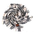 美國正品 COACH 厚實編織格紋羊毛流蘇披肩/方巾-灰/米【現貨】