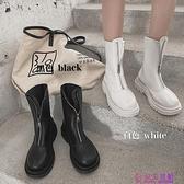 網美前拉鏈馬丁靴女春季新款復古英倫風百搭IG潮中筒瘦瘦靴超級品牌【公主日記】