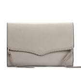 Rebecca Minkoff PANAMA編織皮革雙色裝飾信封手拿包(灰色)220120-1