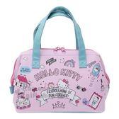 〔小禮堂〕Hello Kitty 硬式支架皮質保冷手提便當袋《粉綠.插圖》手提袋.野餐袋.保冷袋 4930972-47632