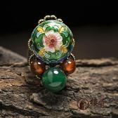 樓蘭客棧民族風戒指食指可調節女瑪瑙景泰藍花朵復古宮廷裝飾品     西城故事