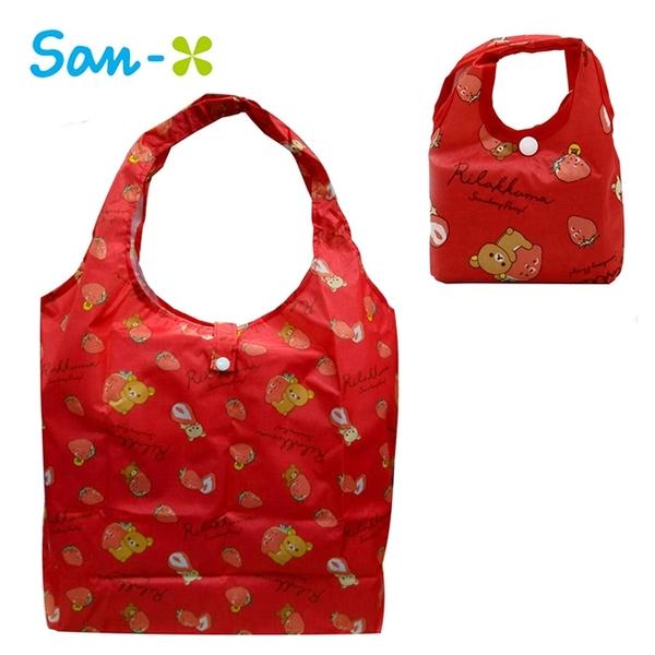 紅色款【日本正版】拉拉熊 摺疊 購物袋 環保袋 手提袋 防潑水 懶懶熊 Rilakkuma San-X - 467029