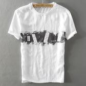 亞麻T恤-水墨印花白色圓領短袖男上衣73xf22【巴黎精品】