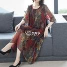 雪紡洋裝春夏圓領時尚中長款印花寬鬆大碼顯瘦春季新款復古裙咕