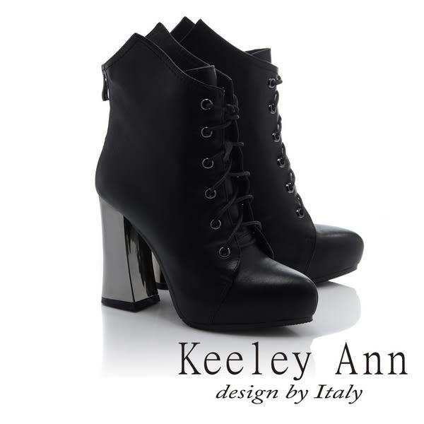 ★零碼出清★Keeley Ann騎士風格~摩登時尚綁帶全真皮高跟短靴(黑色)-Angel系列