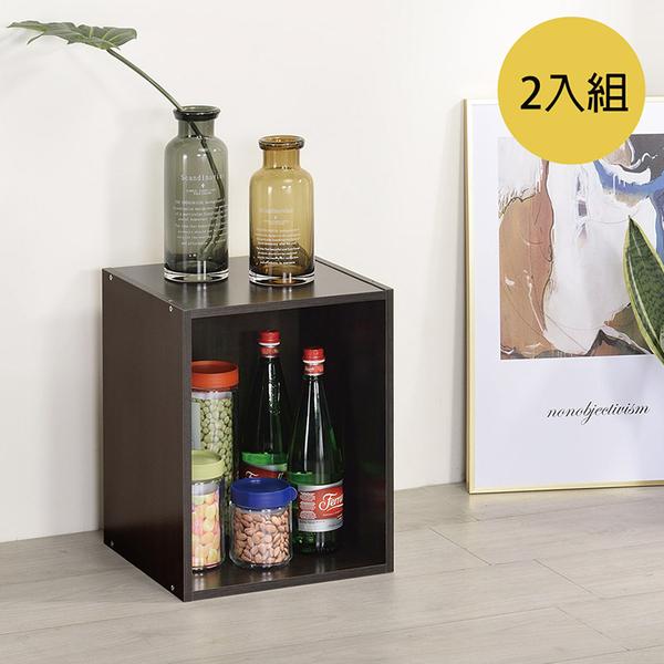 書櫃 收納 堆疊 置物櫃【收納屋】簡約加高單格櫃-胡桃木色(2入)& DIY組合傢俱