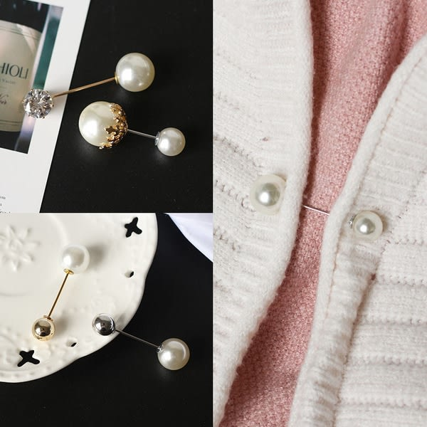 【TT】韓國百搭仿珍珠一字插針披肩開衫防走光胸針毛衣領口針小別針配飾