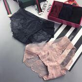 三條盒裝法式浪漫蕾絲性感女士內褲低腰三角褲紅色 全館免運