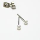 316L醫療鋼 3mm迷你珍珠 耳環耳針釘-銀 防抗過敏