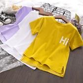 女童T恤 童裝2020夏季新款男童女童短袖 t恤女休閒寬鬆印花字母體恤【快速出貨】