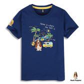 Hush Puppies 男裝度假風格刺繡狗短袖T恤