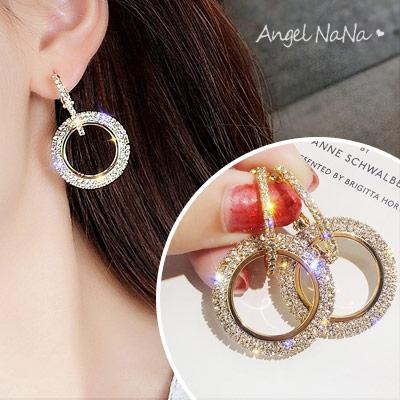 耳環-歐美風水鑽圈圈個性耳針 (SRA0122) AngelNaNa
