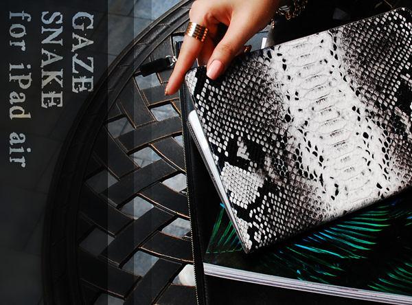 【愛瘋潮】韓國 Mods Snake iPad Air 時尚煙燻蟒紋漆皮手工真皮保護套