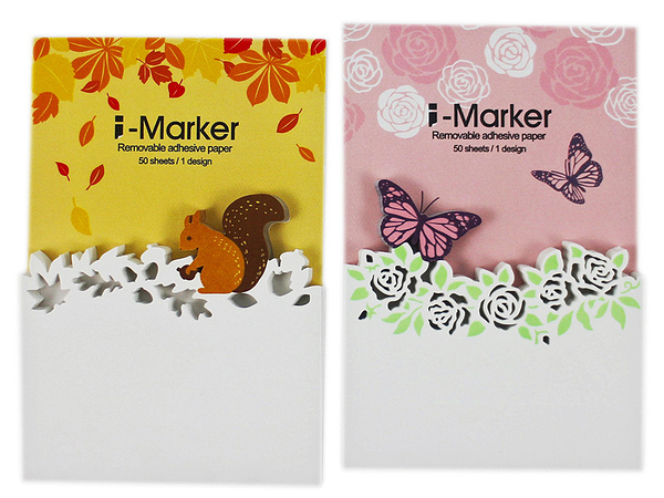 【卡漫城】 I-Marker 便利貼 2選1 ㊣版 松鼠 蝴蝶玫瑰 便條紙 Memo 辦公室小物 創意 N次貼 留言貼
