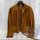 BRAND楓月 PRADA 棕色 焦糖棕 麂皮 皮革 真皮 合身 外套 皮衣 女裝 贈皮帶
