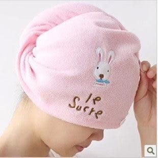 TwinS可愛卡通咪兔竹纖維強力吸水乾髮帽乾髮巾【女生最愛】