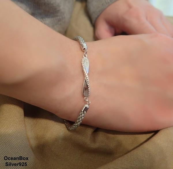 §海洋盒子§簡約質感白金鑲鑽.黑色吊牌編織925純銀手鍊.雙色可選