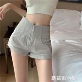 牛仔短褲女拉鏈高腰熱褲韓版寬鬆直筒褲夏季年新款顯瘦褲子潮 蘑菇街小屋