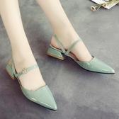 尖頭單鞋包頭 涼鞋女夏季 平底仙女鞋子