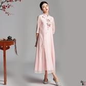 兩件套漢服刺繡立領仿真絲皺盤扣旗袍連衣中長款七分袖雪紡連身裙