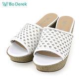 【Bo Derek 】編織楔型厚底涼拖鞋-白色