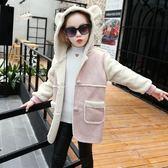 羽絨外套 新品冬裝女童外套中大童拼接加絨連帽上衣兒童中長款保暖大衣