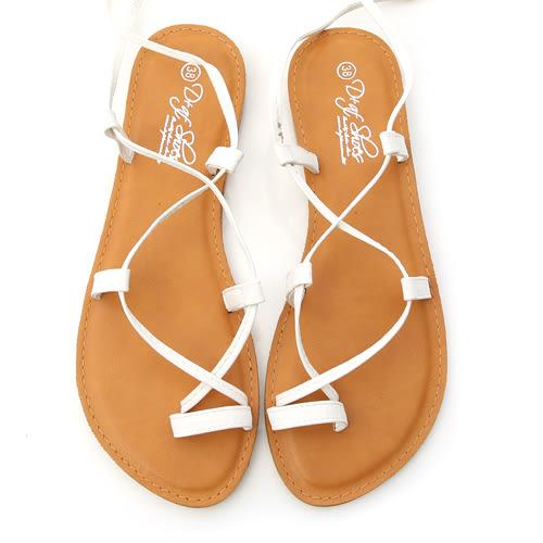 涼鞋 D+AF 浪漫假期.交叉長繞帶平底涼鞋*米白