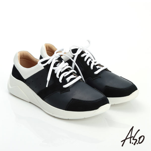 A.S.O 輕量抗震 磨砂真皮綁帶奈米休閒鞋 藍