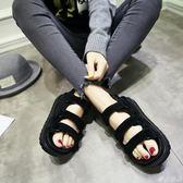 新款夏季涼鞋女韓版魔術貼鬆糕鞋中跟學生百搭平底厚底沙灘鞋      麥吉良品