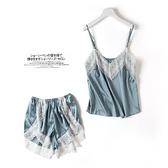 睡衣 睡衣女薄款夏性感冰絲吊帶短褲兩件套韓版清新休閒揹心套裝家居服