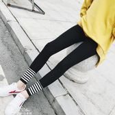 螺紋腳口運動打底褲女外穿條紋拼接緊身小腳褲純棉彈力九分褲『夢娜麗莎精品館』
