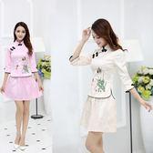 【新年鉅惠】 2019夏裝新款女改良時尚修身顯瘦民國復古七分袖唐裝旗袍兩件套裝