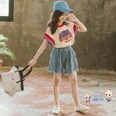 運動套裝 童裝女童夏裝2019新款兒童時髦超洋氣運動套裝大童短袖兩件套網紅 1色