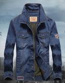 中年男士牛仔夾克秋冬裝寬鬆大碼棉質工裝加厚加絨棉衣多口袋外套