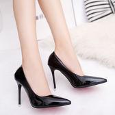 高跟鞋尖頭單鞋女細跟性感黑色職業皮鞋時尚女鞋子