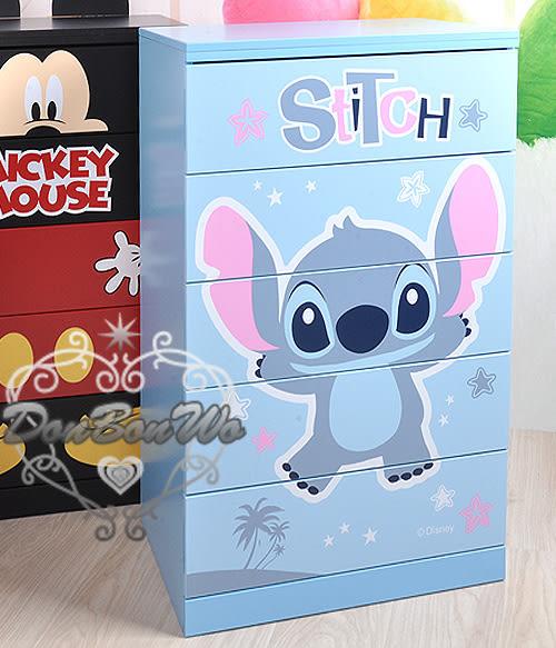迪士尼史迪奇王五斗櫃櫃子衣物收納箱藍底花529635通販屋