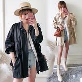 時尚休閒開衫外套XL-3XL實拍2019秋裝新款大碼女裝寬鬆大版型chic慵懶風風衣外套R04-8483