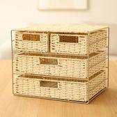 多層編織置物架收納盒框架抽屜式辦公室桌面分格收納盒雜物收納筐 卡布奇诺igo