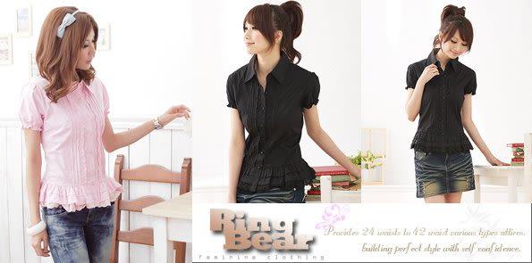 襯衫 Ringbear眼圈熊-古典感的專業優雅.壓折蕾絲邊蛋糕下擺短袖襯衫H37(粉、黑、紫S-2L)