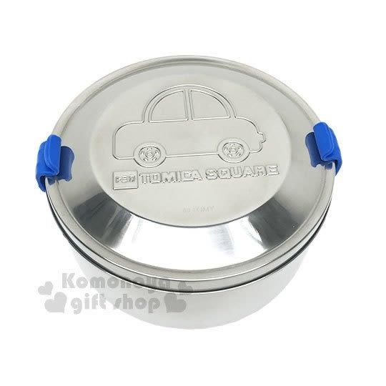 〔小禮堂〕TOMICA 不鏽鋼便當盒《銀.汽車.藍色矽膠扣》雙層.可蒸.台灣製 4719585-90002