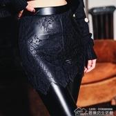 加絨新款高腰外穿加厚PU皮褲打底褲蕾絲包臀假兩件女 居樂坊生活館