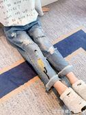 女童牛仔褲2019新款春秋款中大童破洞寬松洋氣休閒長褲兒童小腳褲 漾美眉韓衣
